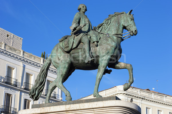 The monument of Charles III on Puerta del Sol Stock photo © vwalakte