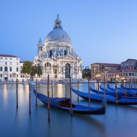 Gondolas and Basilica di Santa Maria della Salute Stock photo © vwalakte
