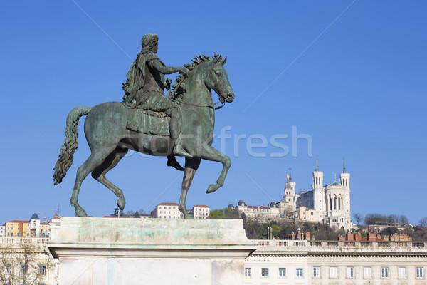 Ver estátua basílica Lyon França edifício Foto stock © vwalakte