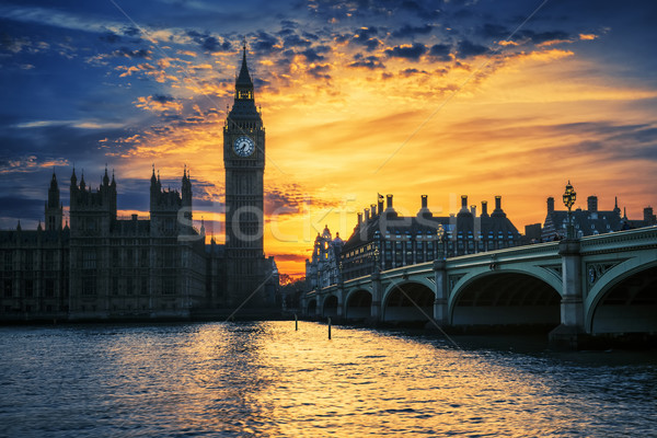 Stock photo: View of Big Ben and Westminster Bridge at sunset