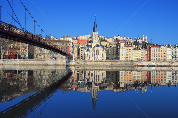 Famous view of Saone river and footbridge in Lyon city Stock photo © vwalakte