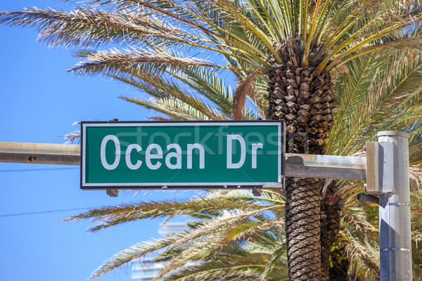 Stock fotó: Híres · jelzőtábla · utca · óceán · vezetés · Miami