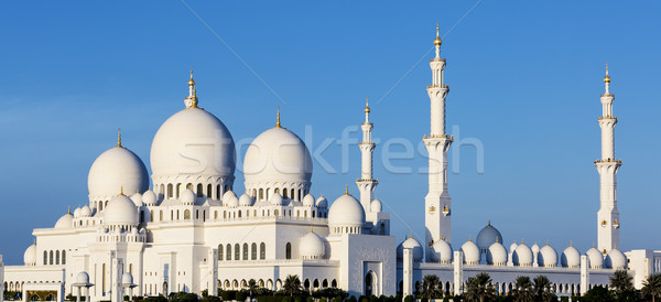Panoramica view moschea Abu Dhabi acqua blu Foto d'archivio © vwalakte