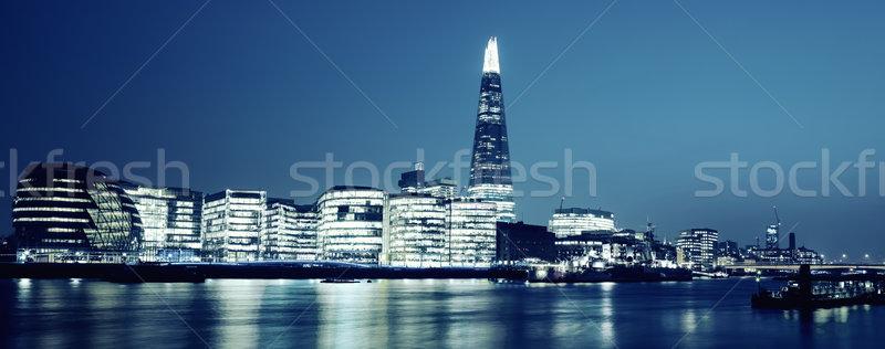 Panoramic view of new London city hall at night Stock photo © vwalakte