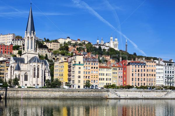 Vízszintes kilátás folyó Lyon város Franciaország Stock fotó © vwalakte