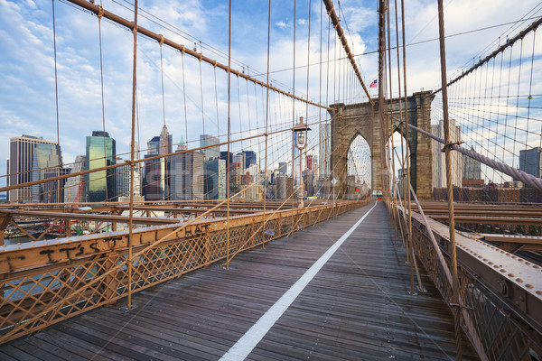 New York City Brooklyn Bridge in Manhattan Stock photo © vwalakte