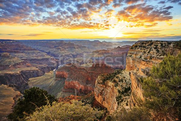 Horizontal ver famoso Grand Canyon nascer do sol viajar Foto stock © vwalakte