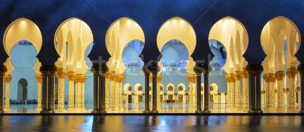панорамный мечети ночь известный Абу-Даби мнение Сток-фото © vwalakte