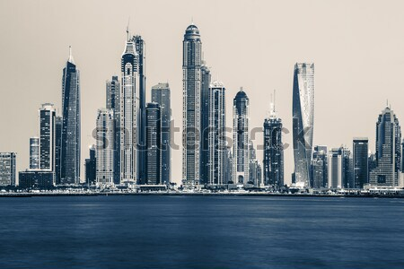 View of Dubai Marina, special photographic processing Stock photo © vwalakte