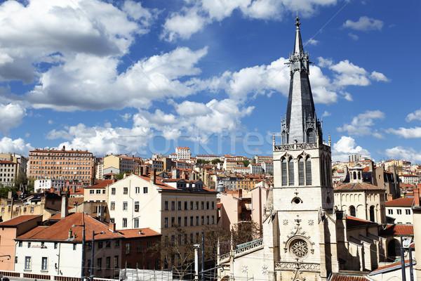 Kilátás kerület Franciaország tájkép templom utazás Stock fotó © vwalakte