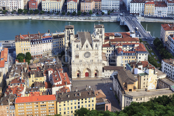 View of Lyon with Saint Jean cathedral Stock photo © vwalakte