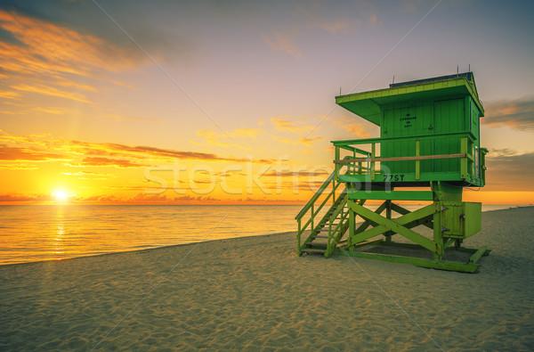 Híres Miami dél tengerpart úszómester torony Stock fotó © vwalakte