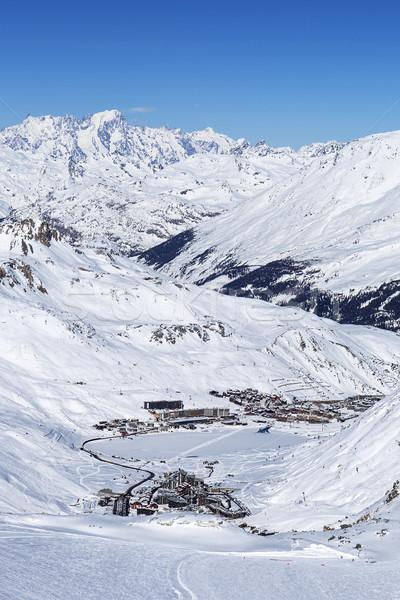 Kilátás tél Franciaország hó utazás időjárás Stock fotó © vwalakte