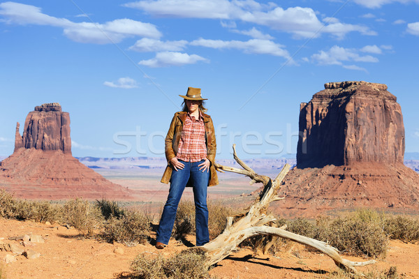 the cowgirl at Monument Valley Stock photo © vwalakte