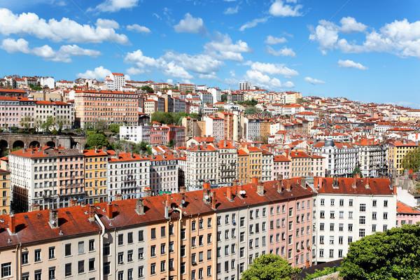 Lyon tető színes kerület nyár Franciaország Stock fotó © vwalakte