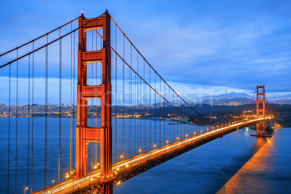 Famoso Golden Gate Bridge San Francisco noite EUA água Foto stock © vwalakte