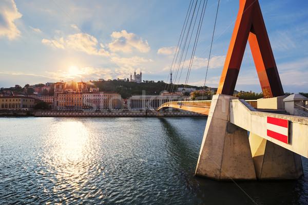 Sunset over Vieux Lyon Stock photo © vwalakte