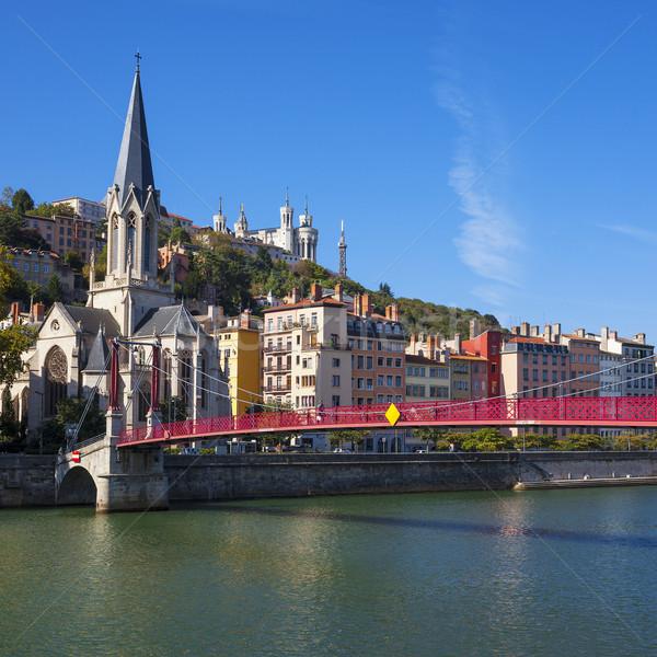 Híres kilátás Lyon város piros gyaloghíd Stock fotó © vwalakte