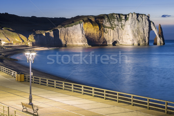 Etretat Aval cliff by night Stock photo © vwalakte