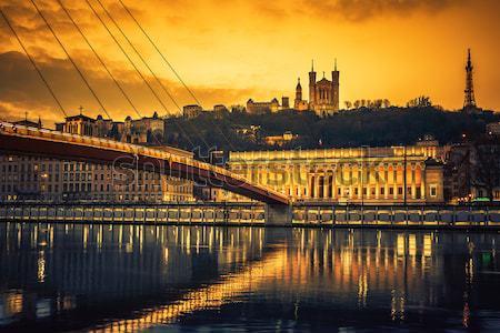 Panorâmico ver rio Lyon noite França Foto stock © vwalakte