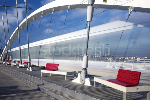 Tramway crossing the bridge at  Lyon, France. Stock photo © vwalakte