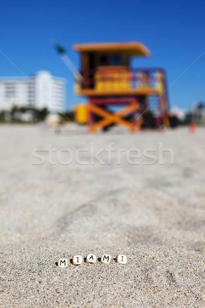 Miami strand Florida brieven zand hemel Stockfoto © vwalakte