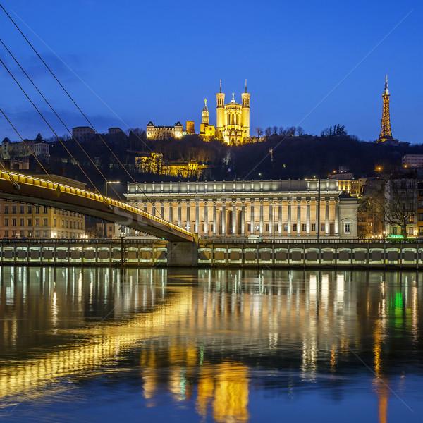 Ver rio Lyon noite França edifício Foto stock © vwalakte