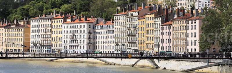 Passarela colorido edifícios Lyon cidade viajar Foto stock © vwalakte