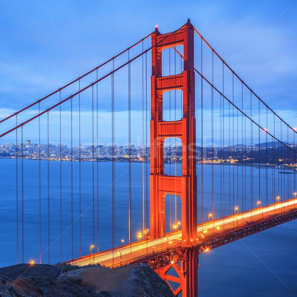Golden Gate Bridge San Francisco noche famoso EUA cielo Foto stock © vwalakte