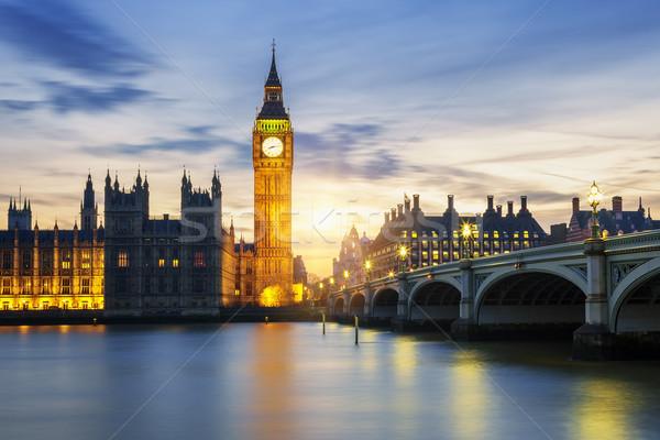 Big Ben horloge tour Londres coucher du soleil mains Photo stock © vwalakte