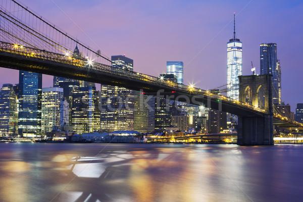 моста сумерки Нью-Йорк небе служба закат Сток-фото © vwalakte