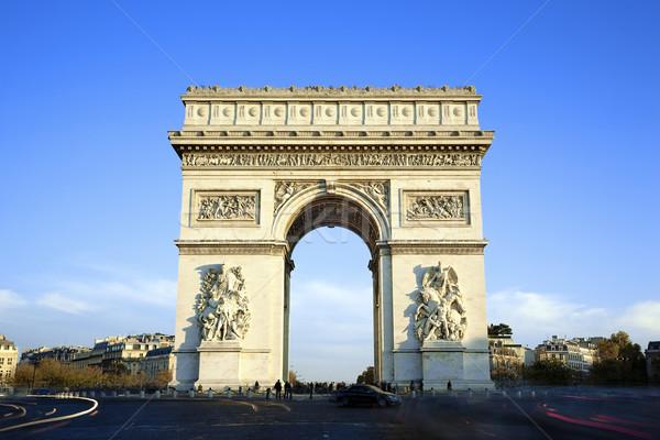 Сток-фото: горизонтальный · мнение · известный · Триумфальная · арка · Париж · автомобилей