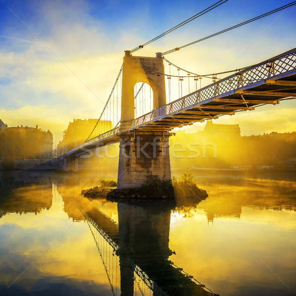 Sunrise on College footbridge in Lyon Stock photo © vwalakte