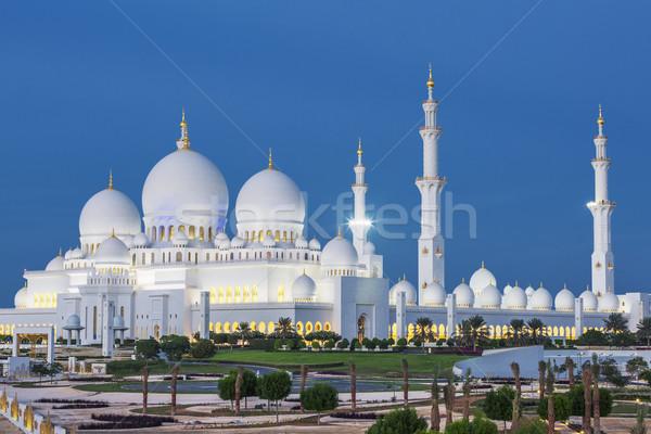 мнение известный Абу-Даби мечети ночь зеленый Сток-фото © vwalakte