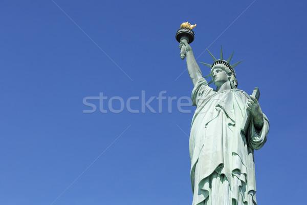 New York szobor hörcsög híres égbolt zöld Stock fotó © vwalakte
