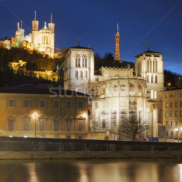 Híres kilátás Lyon folyó éjszaka víz Stock fotó © vwalakte