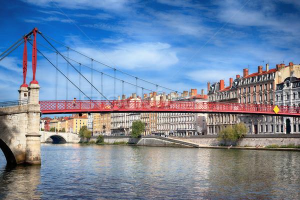 Ver vermelho passarela Lyon rio arquitetura Foto stock © vwalakte