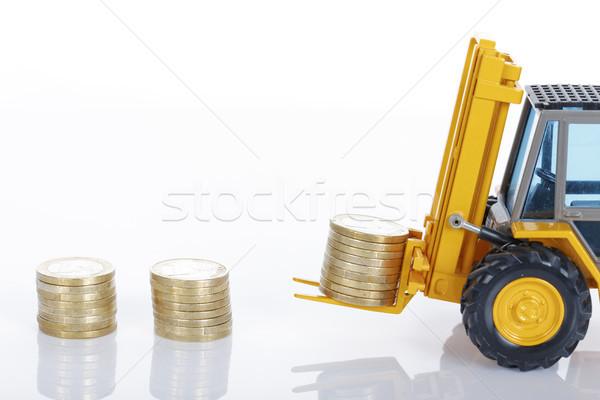 ユーロ お金 コイン フォークリフト 孤立した 白 ストックフォト © vwalakte