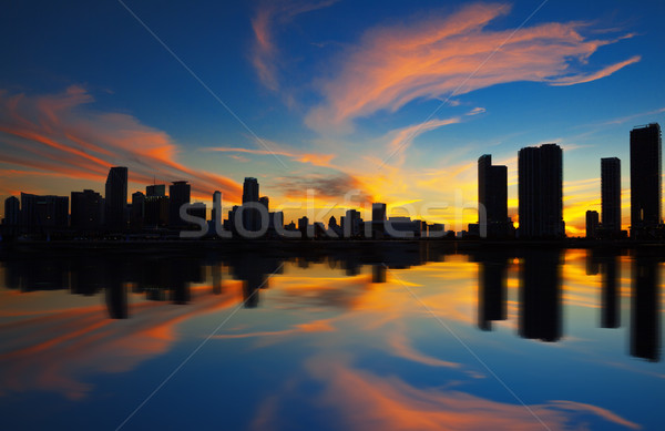 Stock fotó: Miami · városkép · panoráma · alkonyat · városi · felhőkarcolók