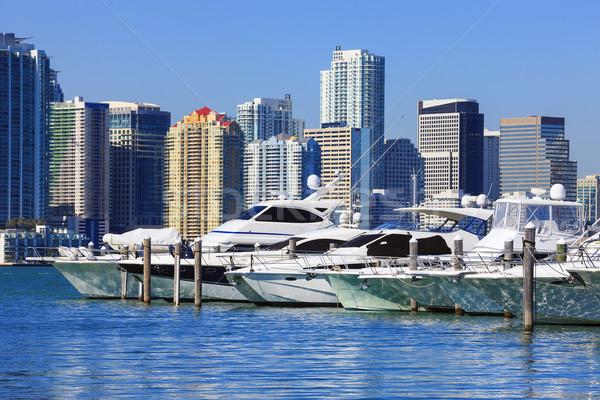 Stock fotó: Miami · szellem · belváros · kék · ég · hajók · Florida