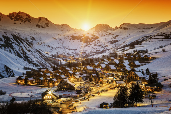 View of Saint Jean d'Arves at sunset Stock photo © vwalakte