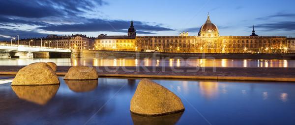 Panorámakép kilátás folyó Lyon város éjszaka Stock fotó © vwalakte
