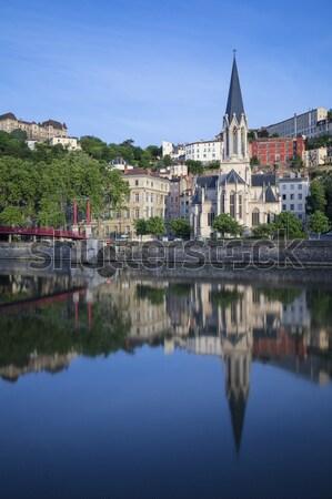 Panorámakép kilátás folyó Lyon Franciaország víz Stock fotó © vwalakte