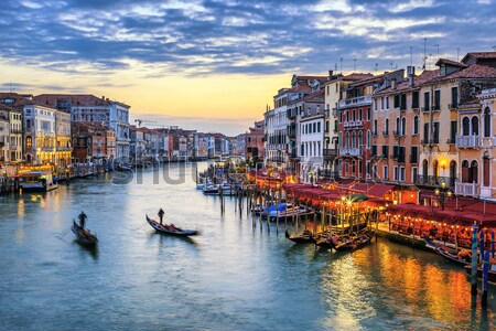 View of Grand Canal with gondolas at sunset Stock photo © vwalakte