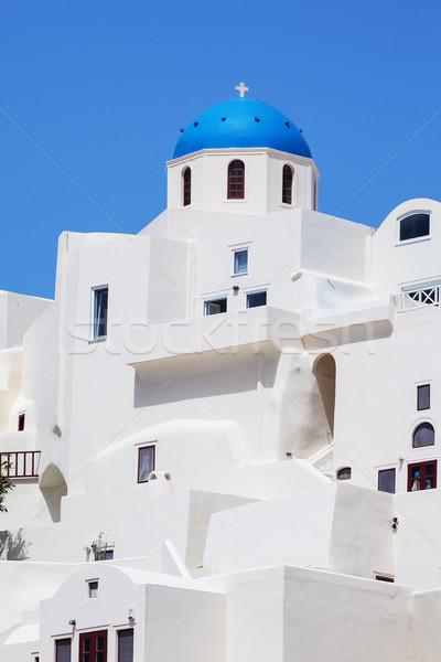 青 ドーム 町 サントリーニ 島 ギリシャ ストックフォト © vwalakte
