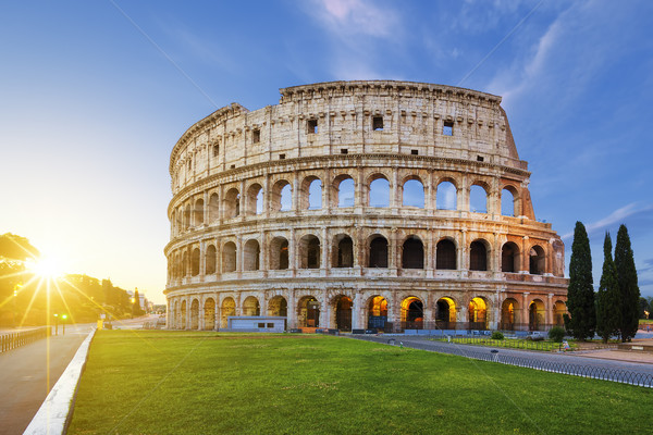 View of Colosseum in Rome at sunrise Stock photo © vwalakte