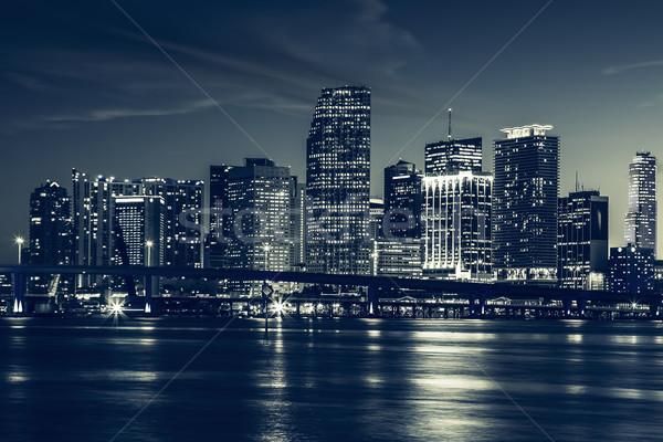 Miami panorama crépuscule urbaine gratte-ciel Photo stock © vwalakte