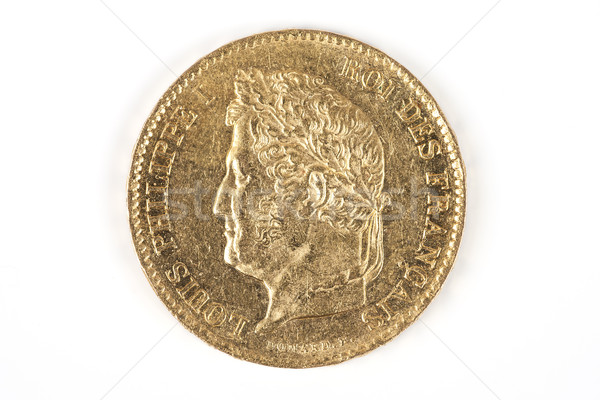 Gouden munt oude frans valuta business goud Stockfoto © vwalakte