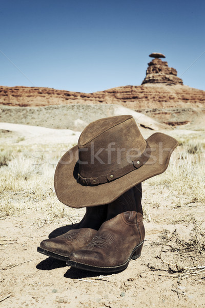 Boots and hat in front of Mexican Hat Stock photo © vwalakte