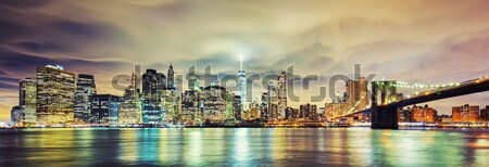 Panoramic view of Manhattan at night Stock photo © vwalakte